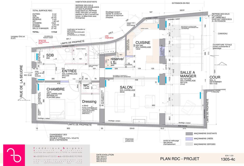 Plan et élévation de renovation d'une maison par Frédérique Bargeas