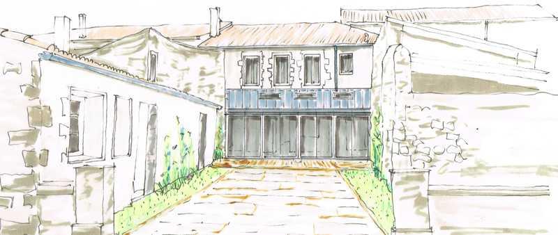 Croquis d'ambiance préparatoire pour la réalisation d'une extension par l'architecte d'intérieur Frédérique Bargeas