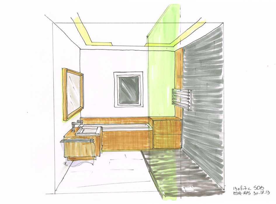 Salle de bain luxueuse Croquis préparatoire à la salle de bain luxueuse architecte intérieur Frédérique Bargeas
