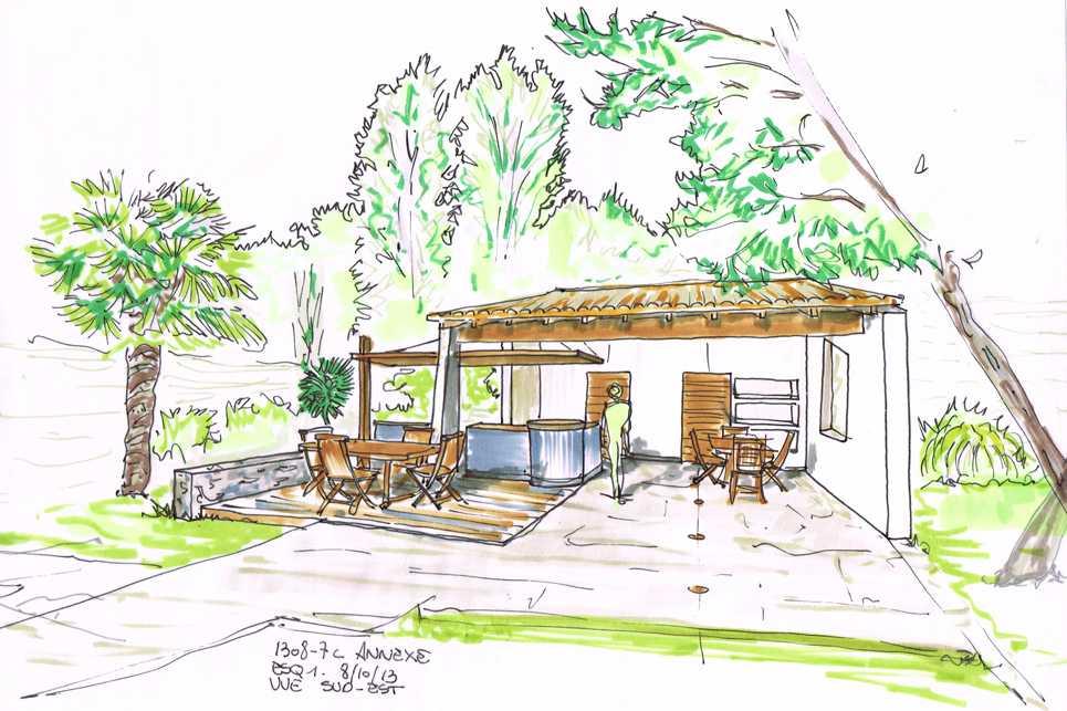 Croquis préparatoire à la cuisine extérieure architecte intérieur Frédérique Bargeas